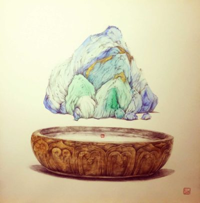 one mountain one world size:55*55cm Medium:watercolour and pigments on water-paper Price-1600$
